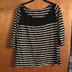 3/4 sleeve black and white stripe tee! 3/$15